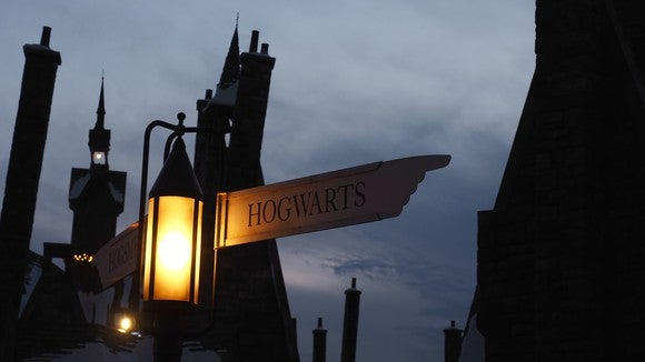 "an image of Hogward wizard academy at night, with a street sign lit, pointing to the right and with ""Hogwarts"" printed on it"