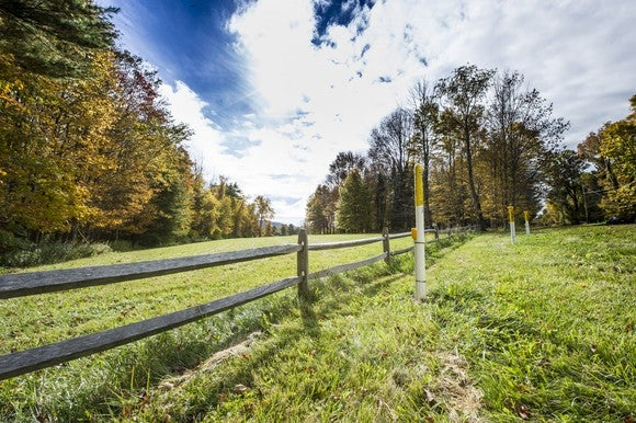 A right of way for an underground natural gas pipeline.