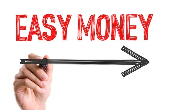 """""""easy money"""" printed on a white background, with a hand drawing an arrow under it, pointing to the right"""