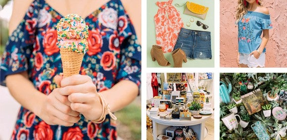 Francesca's clothing collage, colorful women's clothing and accessories