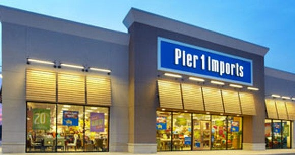 Pier 1 Imports exterior at dusk.
