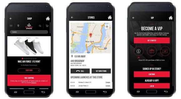Foot Locker's mobile app.