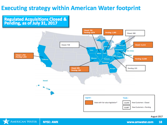 An image of the United States outlining American Water's acquisition activity