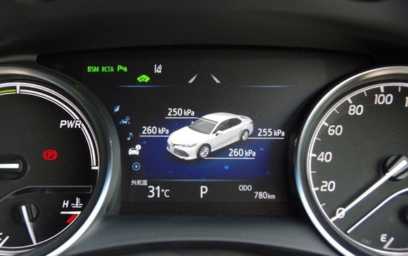A car's instrument cluster.