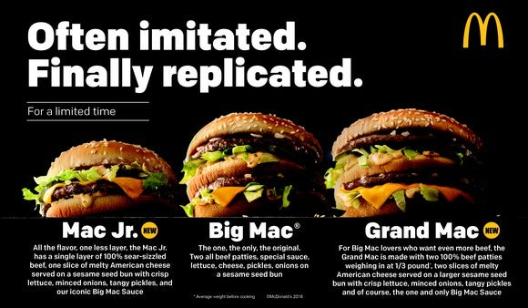 A comparison of the three Big Mac sandwiches McDonald's rolled out last year.