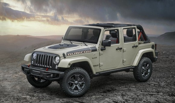 A 2017 Jeep Wrangler Unlimited Rubicon, on rough barren terrain.