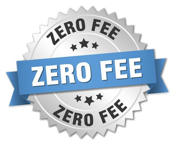 "illustration of a round stamp or award that says ""zero fee"""