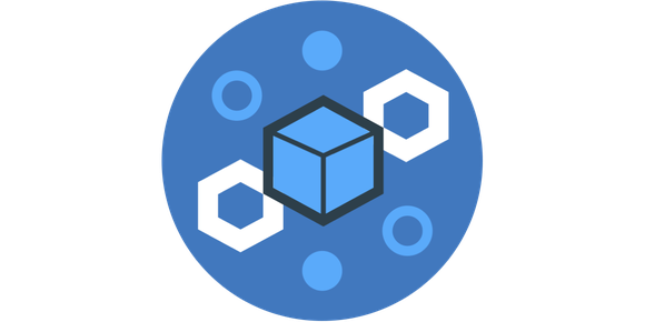 An icon with a block and chain, representing IBM's blockchain service.