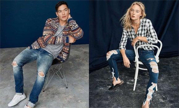 "AEO's ""destroyed denim"" looks."