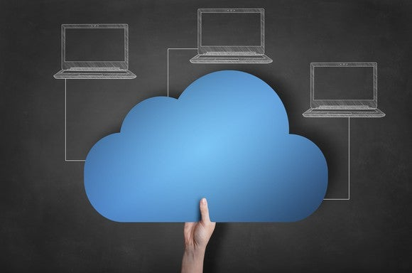 A person holding a cloud with sketches of three laptops connected to the cloud.