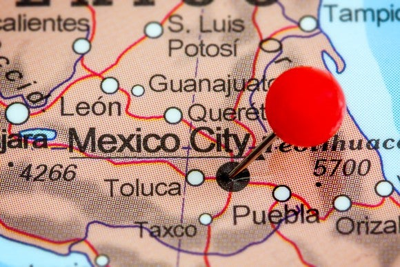 Map of Mexico with a pin in Mexico City