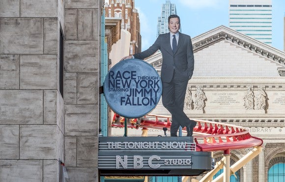 The outside marquee for Race through New York with Jimmy Fallon