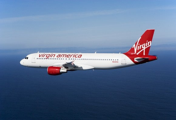 A Virgin America plane in flight.