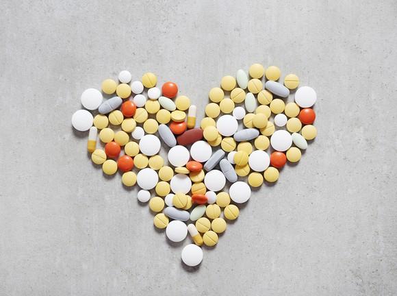 Heart shaped from assortment of pills