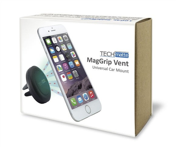 The outer box of a TechMatte universal car mount