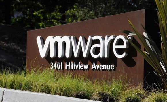 A VMware sign at its Palo Alto campus.