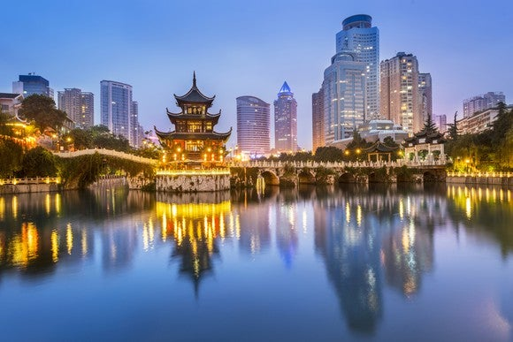 Cityscape of Guiyang, China at night.