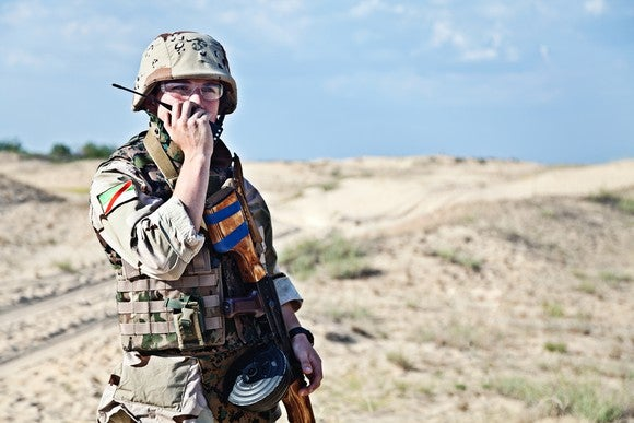 Soldier talking on radio