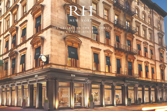 "A design gallery with ""RH New York"" and ""The gallery in the historic Flatiron District"" written across it."