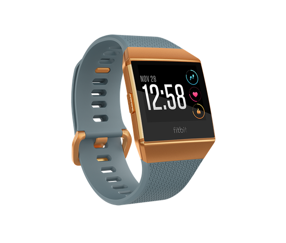 The Fitbit Ionic smartwatch, displayed with a blue wristband and burnt orange face.
