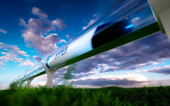 Concept image of a high-speed travel system in a tube