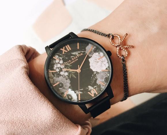 An Olivia Burton watch on a woman's wrist