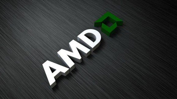 AMD logo on a gray background