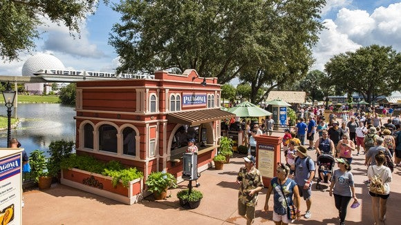 The Food & Wine Festival at Epcot with a Patagonia kiosk in front of the monorail and Spaceship Earth.