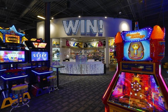 A Dave & Buster's video game arcade.