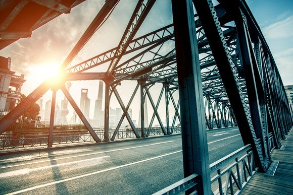 A steel bridge, with a city skyline in the background and the sun shining between the beams.