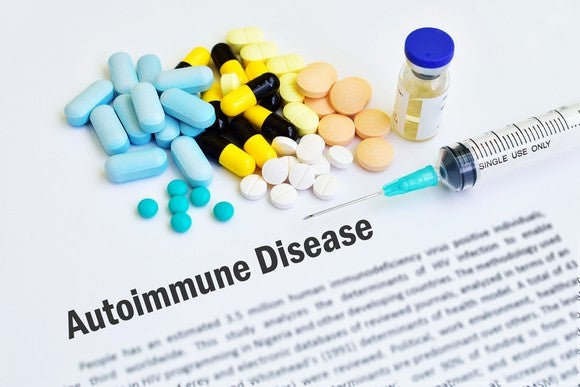 Autoimmune disease document with syringe and pills