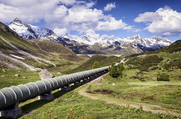 Pipeline with a mountain background.