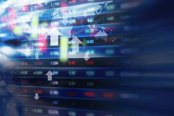 Stock market data on an LED display, including prices and red, white, and green arrows