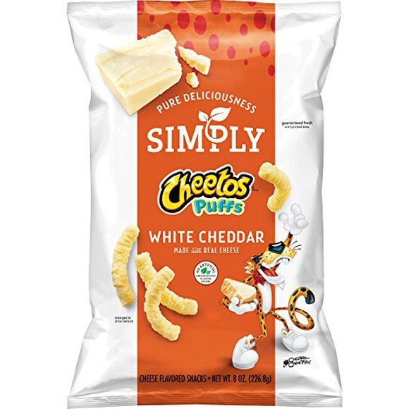 "Front page of ""Simply"" Cheetos puffs."