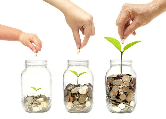 Three coin jars on a white background. As the number of coins in each jar grows, so does a green sprout growing out of the jar and the hand dropping in new coins looks older.
