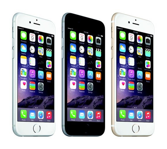Apple's iPhone 6 lineup in Silver, Gray, and Gold.