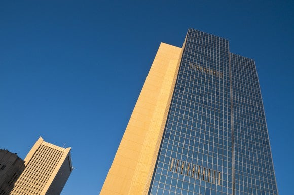 Looking up at Chase Tower in Phoenix, Arizona.
