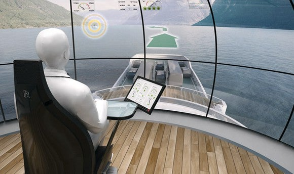 Rendering of remote operations center for marine vessels. Shows dummy human sitting in a seat in a building overlooking a body of water with computer controls in front of him/her.
