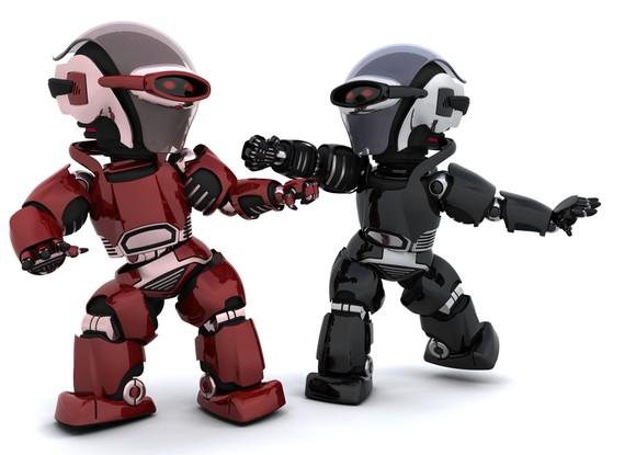 Two robots battle it out.