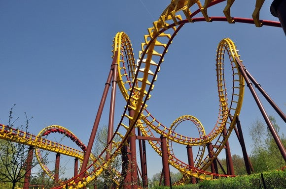 Yellow and red roller coaster with many twists and turns.