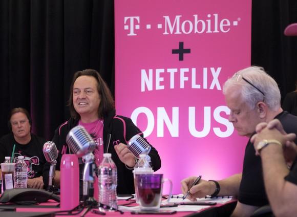 T-Mobile CEO John Legere unveiling Netflix On Us