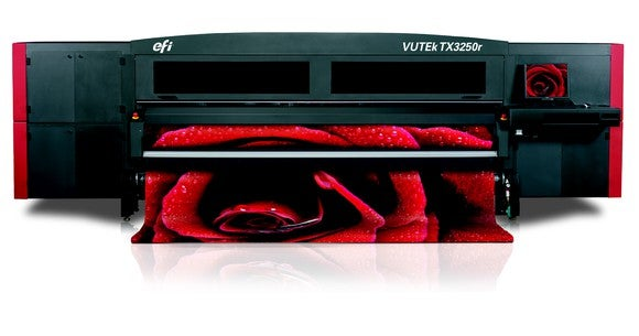 Electronics for Imaging printer with image of red rose.