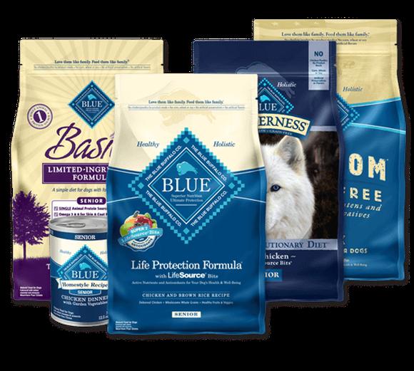 A selection of Blue Buffalo pet foods
