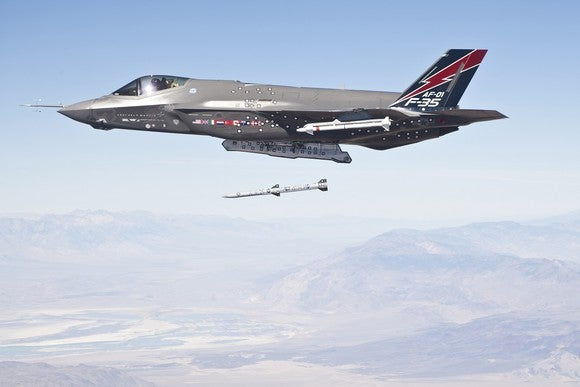 F-35 fighter in the sky launching a missile.