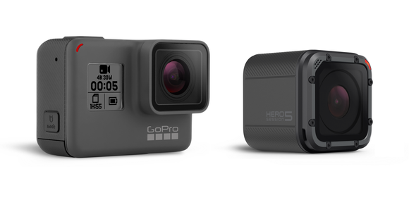 GoPro's HERO5 Black and HERO5 Session cameras against a white background.