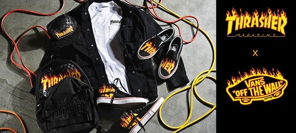 Various Thrasher merchandise including a jacket, hat, shoes, and a backpack scattered on top of each other.