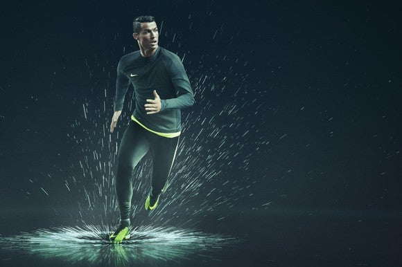 Cristiano Ronaldo running through a stylized a puddle