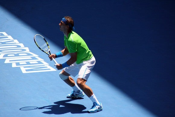 Rafael Nadal prepares for a shot in the 2012 Australian Open