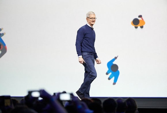 Apple CEO Tim Cook speaking onstage at WWDC 2017.