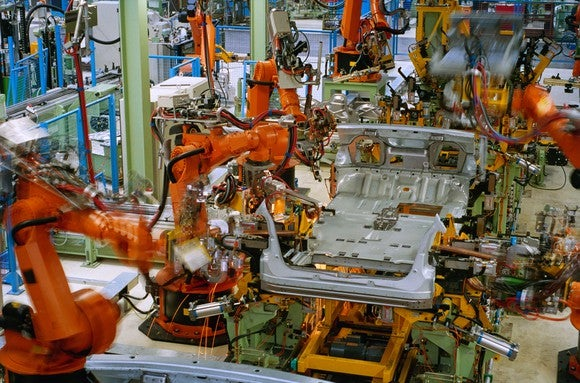 robots on an automotive production line